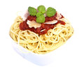 Fesh spaghetti with tomato sauce and parmesan Royalty Free Stock Image