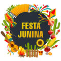 Festa junina cartoon background with decorative frame. Folklore Holiday. Characters.