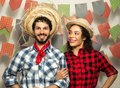 Festa Junina: party in Brazil. Man and woman dressing checked pa Royalty Free Stock Photo
