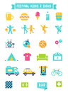 Festival, Concert and Camping Flat Icons Royalty Free Stock Photo