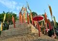 Festival de songkran das imagens dos pagodes e da bandeira da areia Imagens de Stock