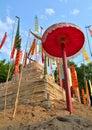 Festival de songkran das imagens dos pagodes e da bandeira da areia Foto de Stock Royalty Free