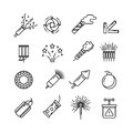 Festival dynamite, party fireworks, festive spark, holiday pyrotechnic line vector icons Royalty Free Stock Photo