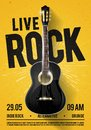 Vector Illustration Beautiful Live Classic Rock Music Poster template. For Concert Promotion in Clubs, Bars, Pubs and Public Place