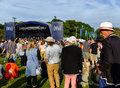 Festival goers festival no portmeirion wales september th at the main stage at th september in portmeirion wales uk Stock Image