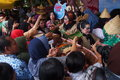 Festival jenang solo s peoples store lined up to get free pulp on the in ngarsopuro indonesia Royalty Free Stock Image