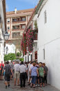 Festival of the patios in cordoba tourists waiting for entering to a patio during andalusia spain Stock Photography