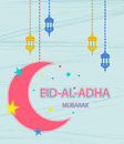 Festival of sacrifice Eid Al Adha. Greeting card with stars, moon and lanterns on abstract background.