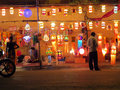 Festival shop a streetside selling traditional lanterns on the ocassion of diwali in india Royalty Free Stock Images