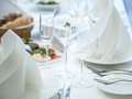 Festival table setting at the restaurant close up shot Stock Images