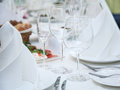 Festival table setting at the restaurant close up shot of empty glasses Stock Photography