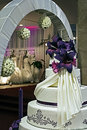 Festive arrangement for wedding with cake and grooms entrance adorned with flowers Stock Images