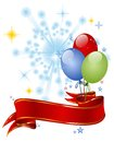 Festive background with balloons red ribbon entwined Stock Photography