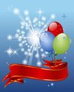 Festive background with balloons red ribbon entwined Royalty Free Stock Photo