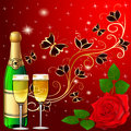 Festive background with butterflies and rose champagne illustration Stock Photography