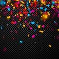 Festive background with colorful confetti.