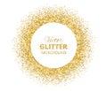 Festive background with golden glitter circle frame