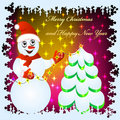 Festive background with snowman Royalty Free Stock Photo