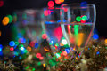 Festive Background with sparkling wine and shiny bok Royalty Free Stock Photo