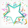Festive background with stars and streamer Royalty Free Stock Images
