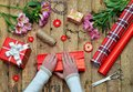 Festive background. Top view composition of woman hands wrap present for Birthday, Mothers day, Valentines Day, March 8. Packe Royalty Free Stock Photo