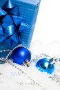 Festive balls with gift box Stock Image