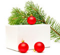 Festive balls with gift box Stock Photo