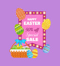 Festive, beautiful, Easter baskets with painted eggs, flowers, bakery products.