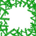 Festive beautiful natural Christmas frame with green coniferous fir-tree branches with needles for the new year isolated