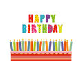 A festive big cake with candles on a stand. Happy Birthday. Royalty Free Stock Photo