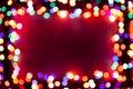 Festive bokeh lights frame Stock Image
