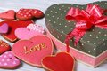 Festive box with a bow and colorful biscuit hearts for valentine valentines day Royalty Free Stock Photography
