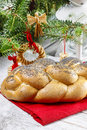 Festive bread dish and decoration Royalty Free Stock Photography