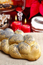 Festive bread on jute table cloth Stock Photography