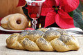 Festive bread on the table in christmas decoration Stock Image