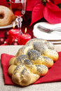 Festive bread on the table in christmas decoration Royalty Free Stock Photos