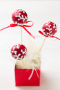 Festive cake pops in red box Stock Photography