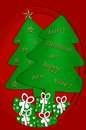 Festive card design with christmas trees Royalty Free Stock Photography