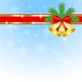Festive christmas background with the branches of silver fir and campanellis illustration Royalty Free Stock Photography