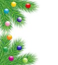 Festive christmas background with the branches of silver fir illustration Royalty Free Stock Photos