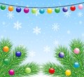 Festive christmas background with the branches of silver fir illustration Stock Photography