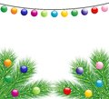 Festive christmas background with the branches of silver fir illustration Royalty Free Stock Images