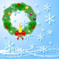 Festive christmas background with a chaplet from a silver fir illustration Royalty Free Stock Image