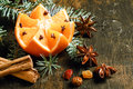 Festive Christmas background with a fresh orange Royalty Free Stock Photo