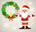 Festive christmas background with santa claus and chaplet from a silver fir illustration Stock Photography