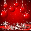 Festive christmas background with snowflakes and by balls illustration Royalty Free Stock Photos