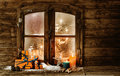 Festive Christmas cabin window Royalty Free Stock Photo