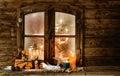 Festive Christmas cabin window