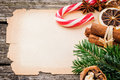 Festive christmas frame with vintage paper and decorations Royalty Free Stock Photo