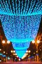 Festive Christmas New Year illuminations in city Royalty Free Stock Photo